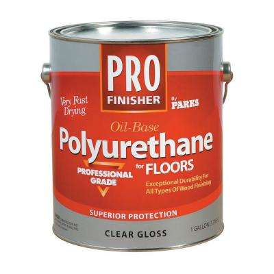1 gal. Clear Gloss Oil-Based Interior Polyurethane for Floors (Case of 4)