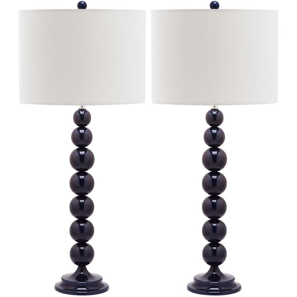 Jenna 31 in. Navy Stacked Ball Lamp (Set of 2)