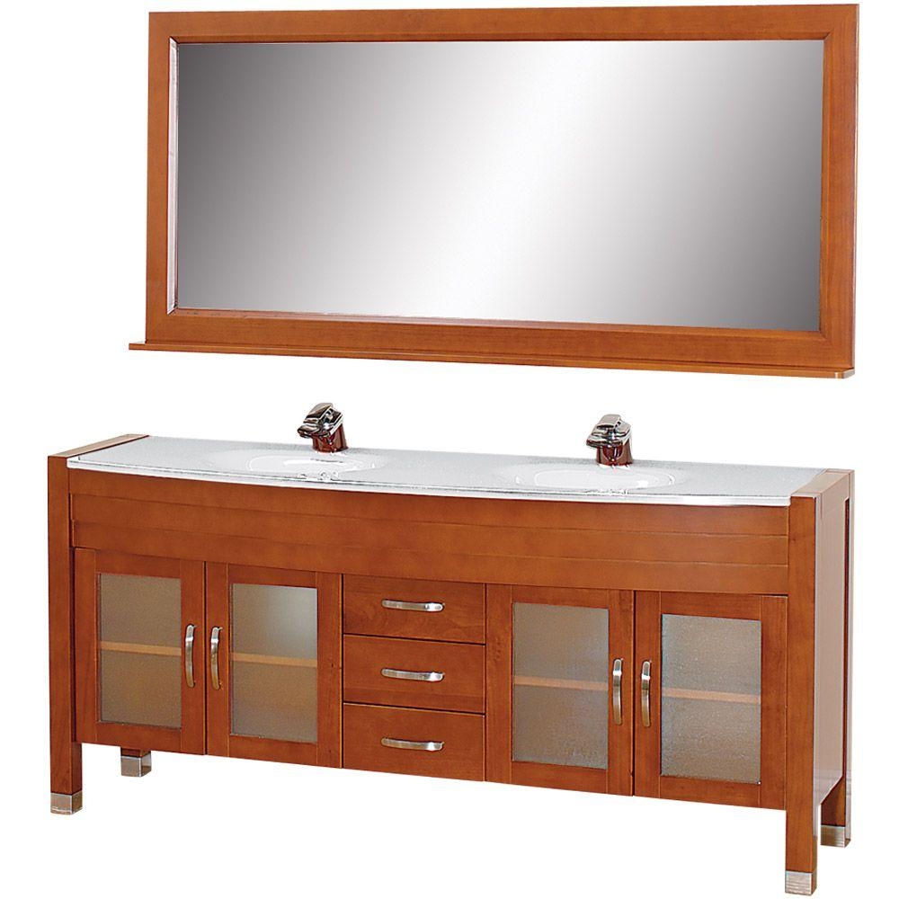 Wyndham Collection Daytona 71 in. Vanity in Cherry with Double Basin Stone Vanity Top in White and Mirror