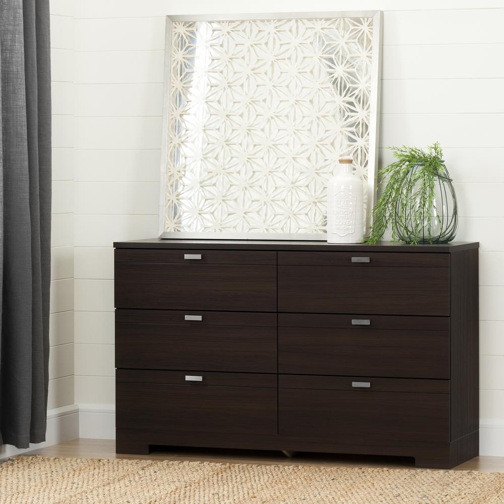 home and decor south shore reevo 6 drawer matte brown dresser 10264 the 10264