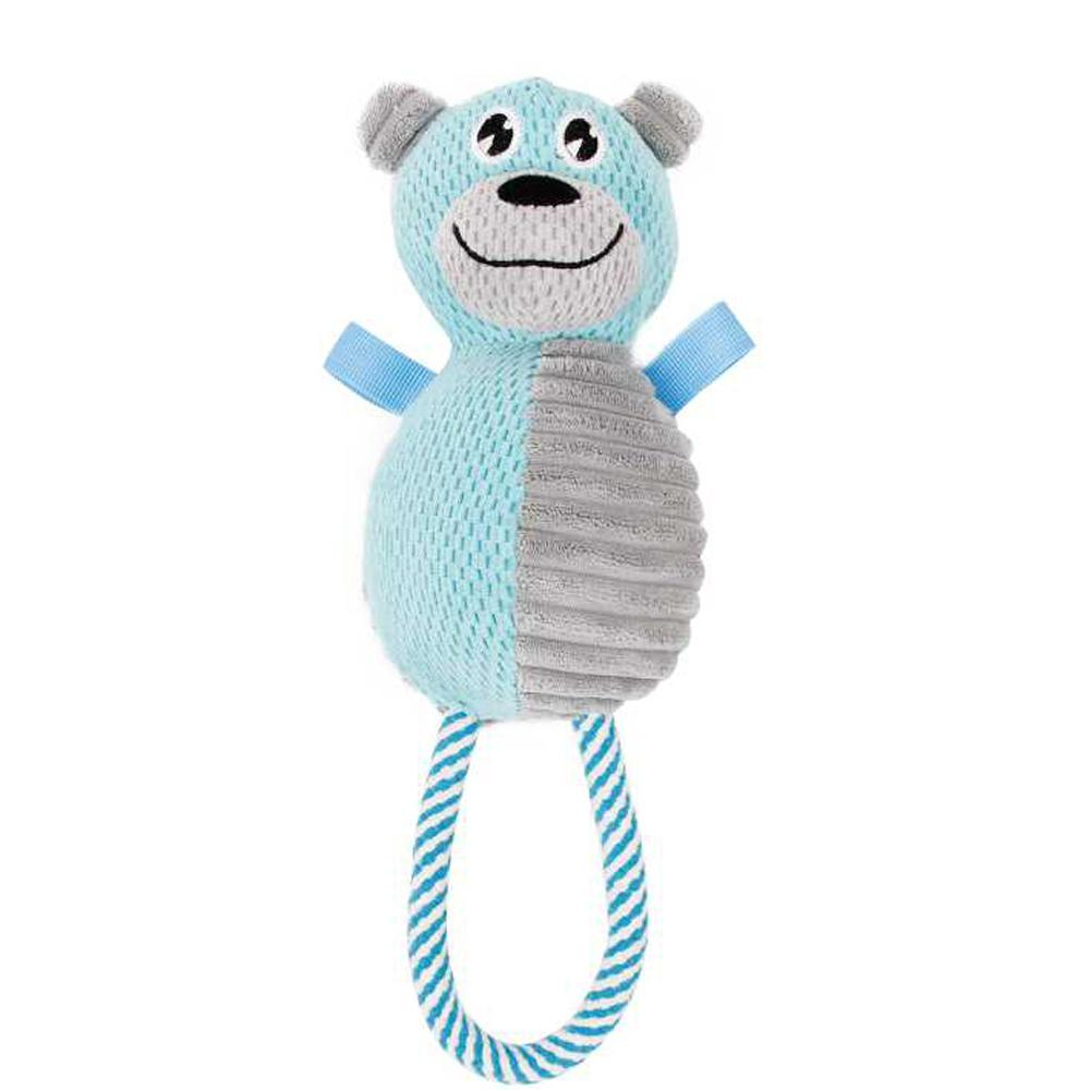 Blue and Grey Plush hug a bear Natural Jute and Squeak