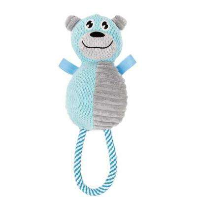 Blue and Grey Plush hug a bear Natural Jute and Squeak Chew Tugging Dog Toy