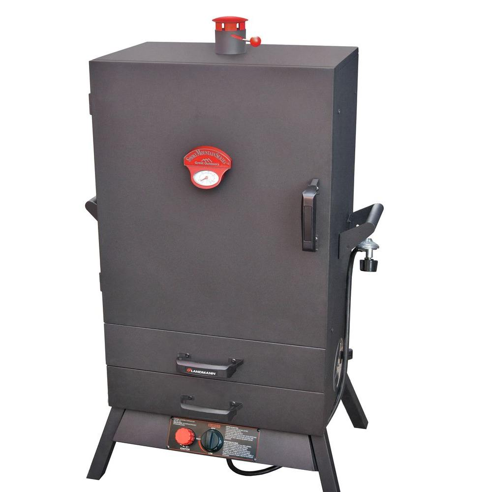 Smoky Mountain 38 in. Vertical Wide Chamber Propane Gas Smoker 2 Drawer Access