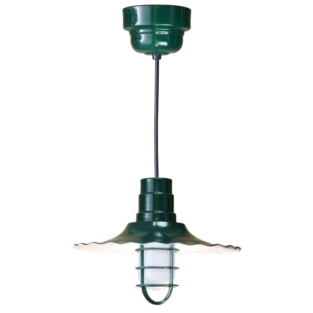 1-Light Green Radial Shade Pendant with Wire Guard and Frosted Glass