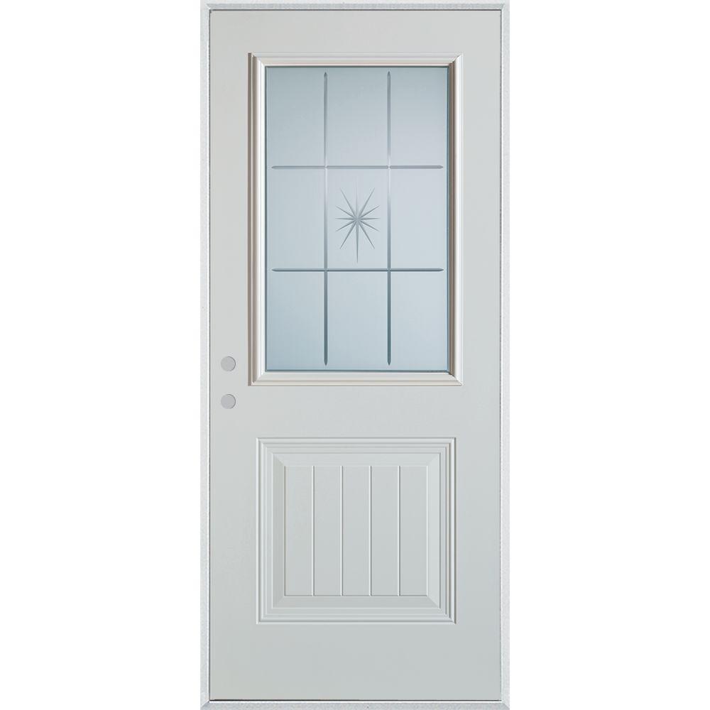 Stanley Doors 36 in. x 80 in. V-Groove 1/2 Lite 1-Panel Prefinished White Right-Hand Inswing Steel Prehung Front Door