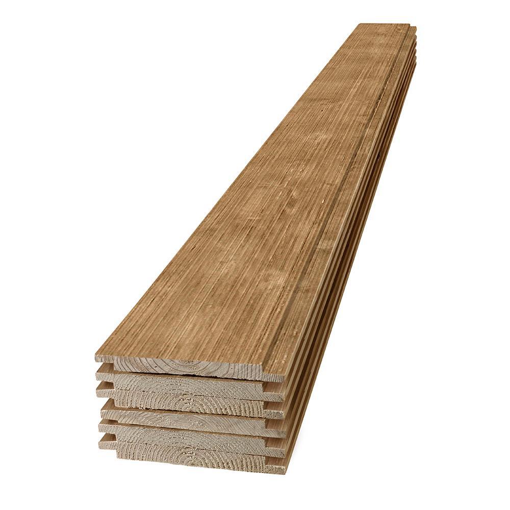 1 in. x 8 in. x 6 ft. Barn Wood Light Brown Shiplap Pine Board (6-Pack)