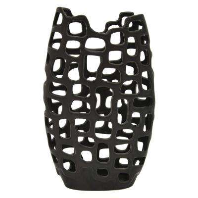 11.75 in. Black Ceramic Vase