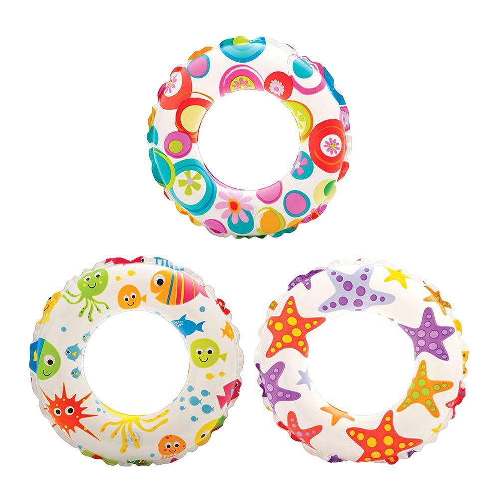 20 in. Inflatable Lively Ocean Friends Print Kids Tube Swim Ring (3-Pack)