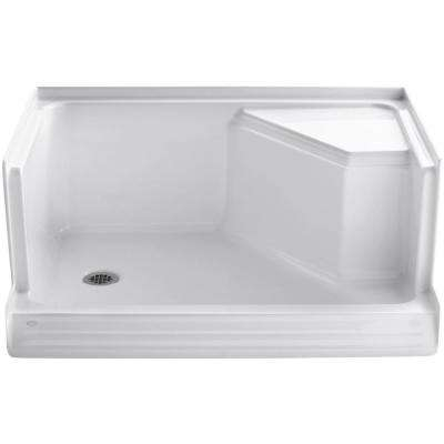 Memoirs 48 in. x 36 in. Single Threshold Shower Base with Integral Seat on Right in White