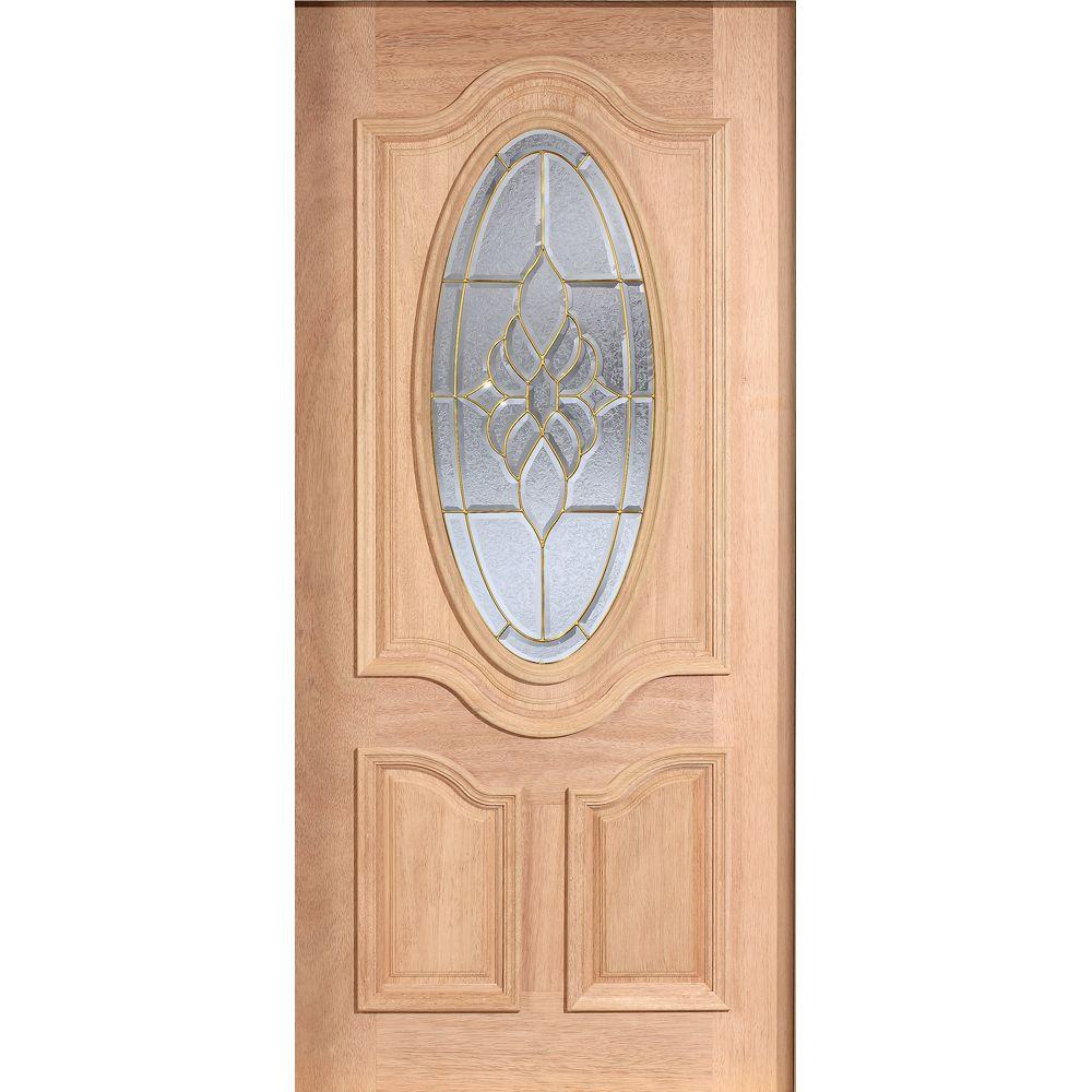 Main Door 36 in. x 80 in. Mahogany Type Unfinished Beveled Brass 3/4 Oval Glass Solid Wood Front Door Slab
