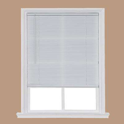 Cut-to-Width White Cordless 1 in. Light Filtering Vinyl Mini Blind - 40 in. W x 64 in. L