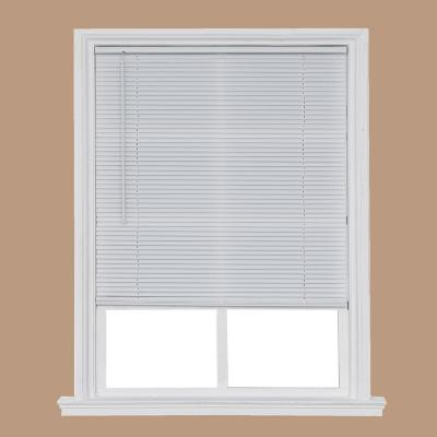White Cordless 1 in. Light Filtering Vinyl Mini Blind 65 in. W x 64 in. L