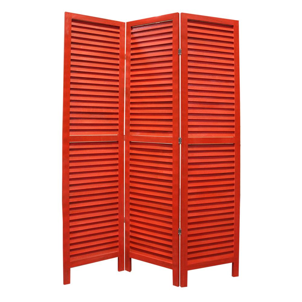 SHUTTER 55 ft Red 3 Panel Room Divider SG 237 RED The Home Depot