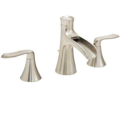 Caspian 8 in. Widespread 2-Handle Bathroom Faucet in Brushed Nickel
