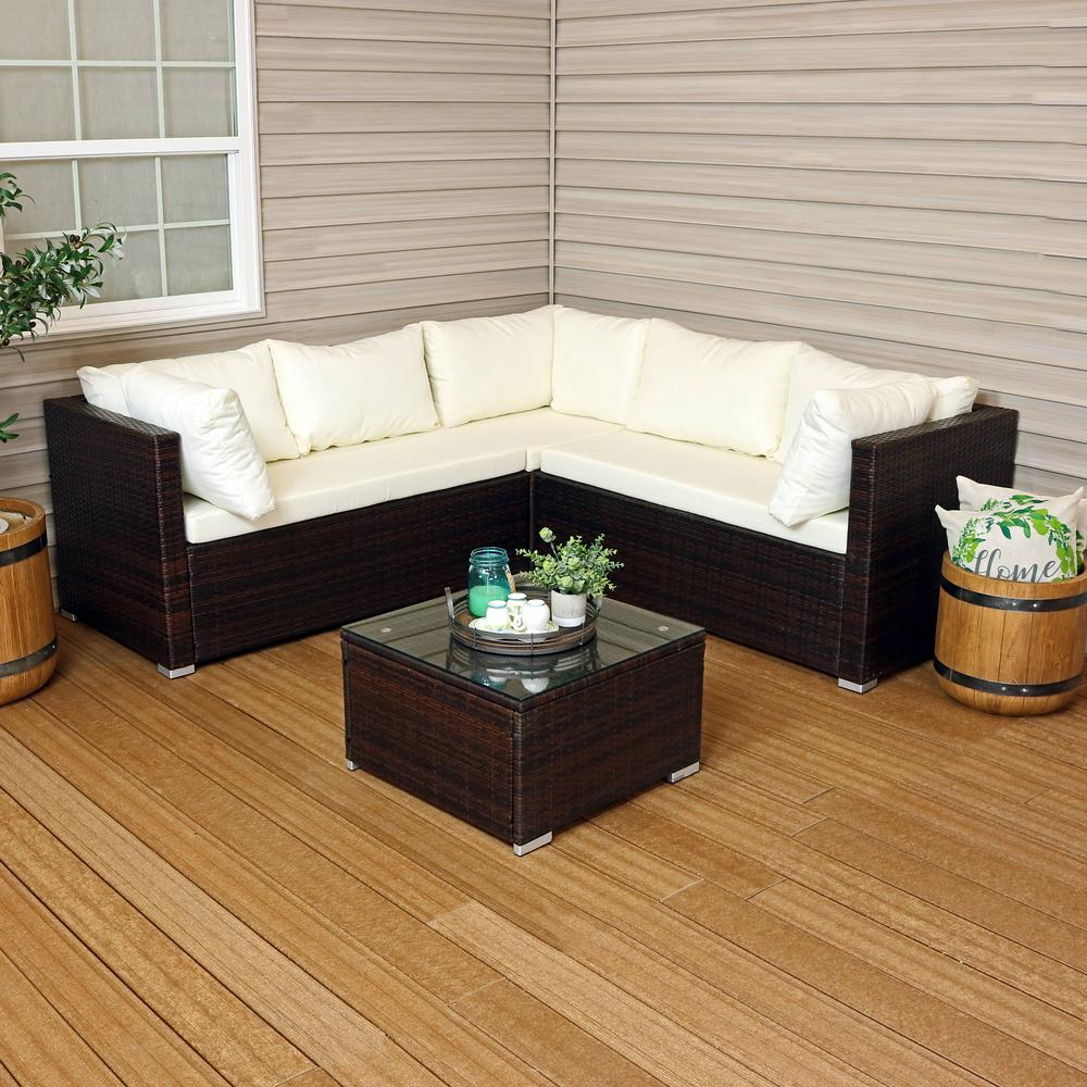 Sunnydaze Decor Port Laoise Brown Metal Rattan Outdoor Sofa Sectional Set  with Beige Cushions