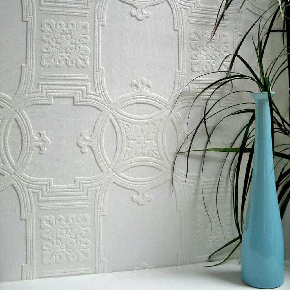 Early Victorian Paintable Textured Vinyl Wallpaper Sample