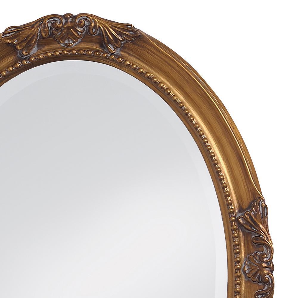 Unbranded 33 In X 25 In Antique Gold Leaf Vintage Oval Antique Gold Leaf Framed Mirror 4014 The Home Depot