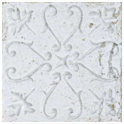 Aevum White Ornato 7-7/8 in. x 7-7/8 in. Ceramic Wall Tile (9.63 sq. ft. / case)
