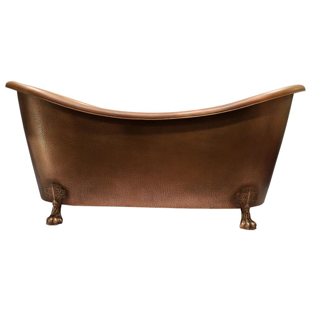 Celana 68 in. Copper Double Slipper Clawfoot Non-Whirlpool Bathtub
