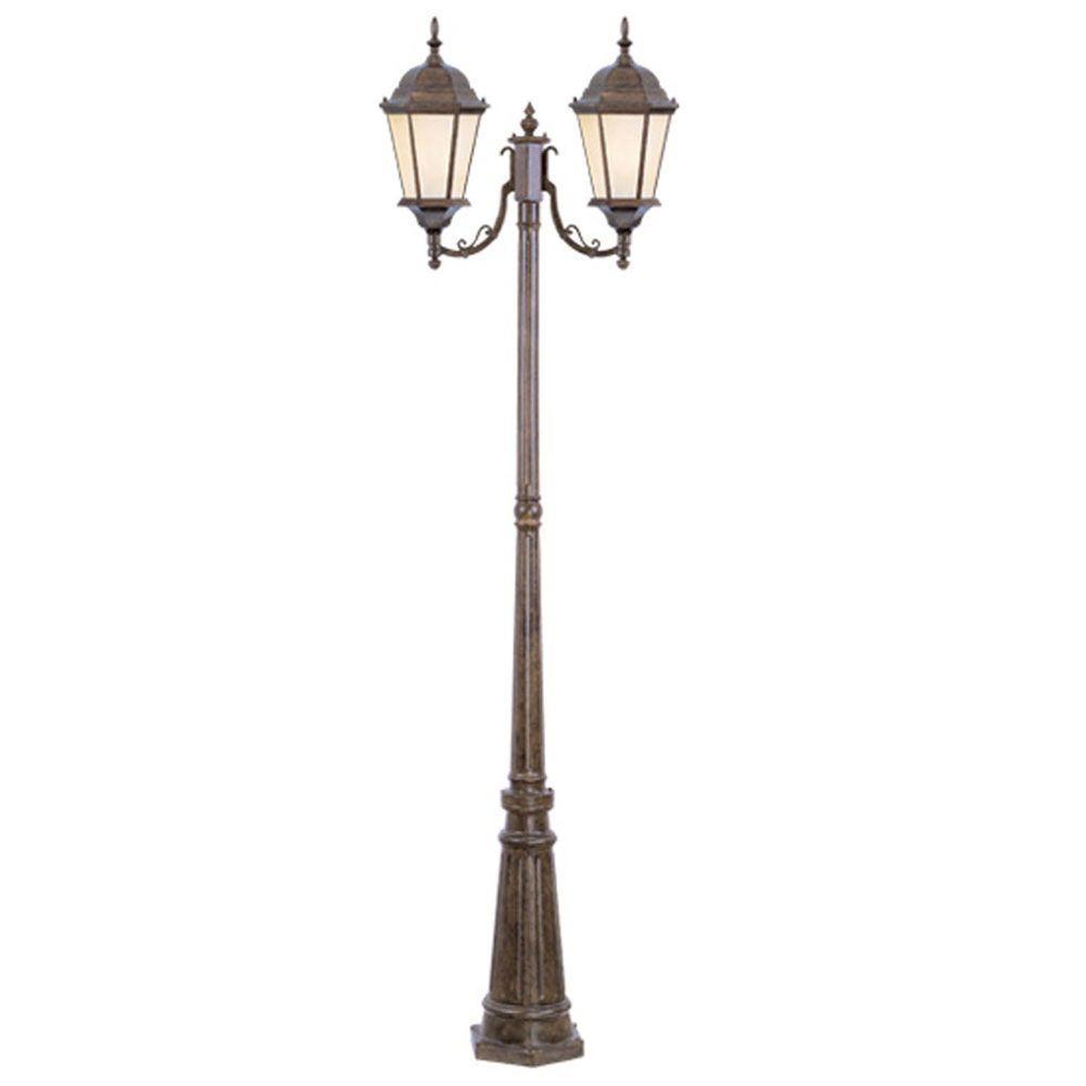 Livex Lighting 2-Light Outdoor Moroccan Gold Incandescent Post Lantern