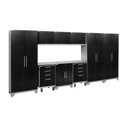 Performance 2.0 Diamond Plate 77.25 in. H x 162 in. W x 18 in. D Stainless Steel Worktop Cabinet Set Black (10-Piece)