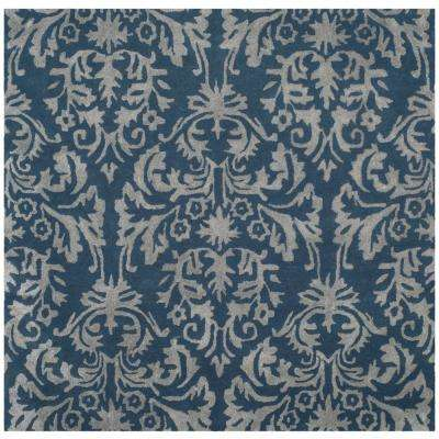 Bella Navy/Gray 5 ft. x 5 ft. Square Area Rug