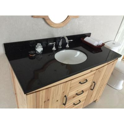 Vista 48 in. W x 22 in. D x 36 in. H Single Vanity in Natural with Granite Vanity Top in Black Galaxy with White Basin