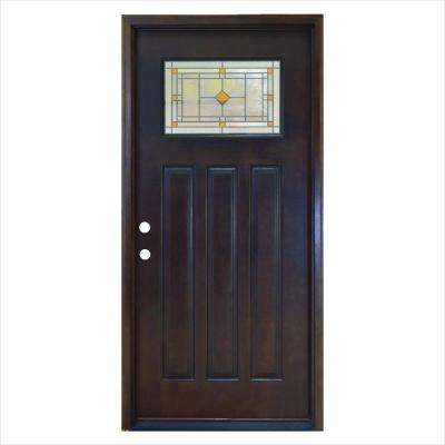 36 in. x 80 in. Amberton Hickory 1/4 Lite Stained Mahogany Wood Right-Hand Inswing Prehung Front Door