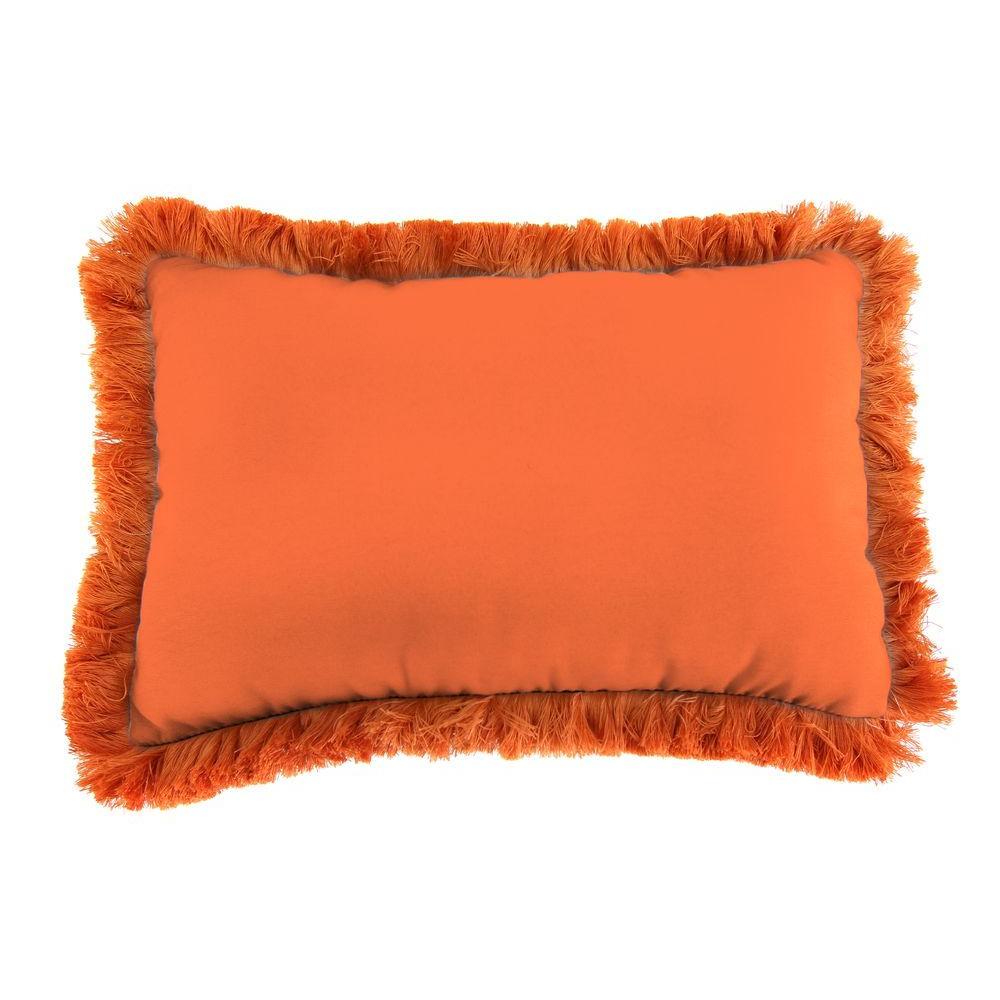 Sunbrella 19 in. x 12 in. Canvas Tuscan Lumbar Outdoor Throw Pillow with Tuscan Fringe