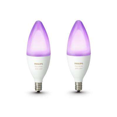 Hue White and Color Ambiance E12 Decorative Candle 40-Watt Equivalent Dimmable LED Smart Bulb (2-Pack)