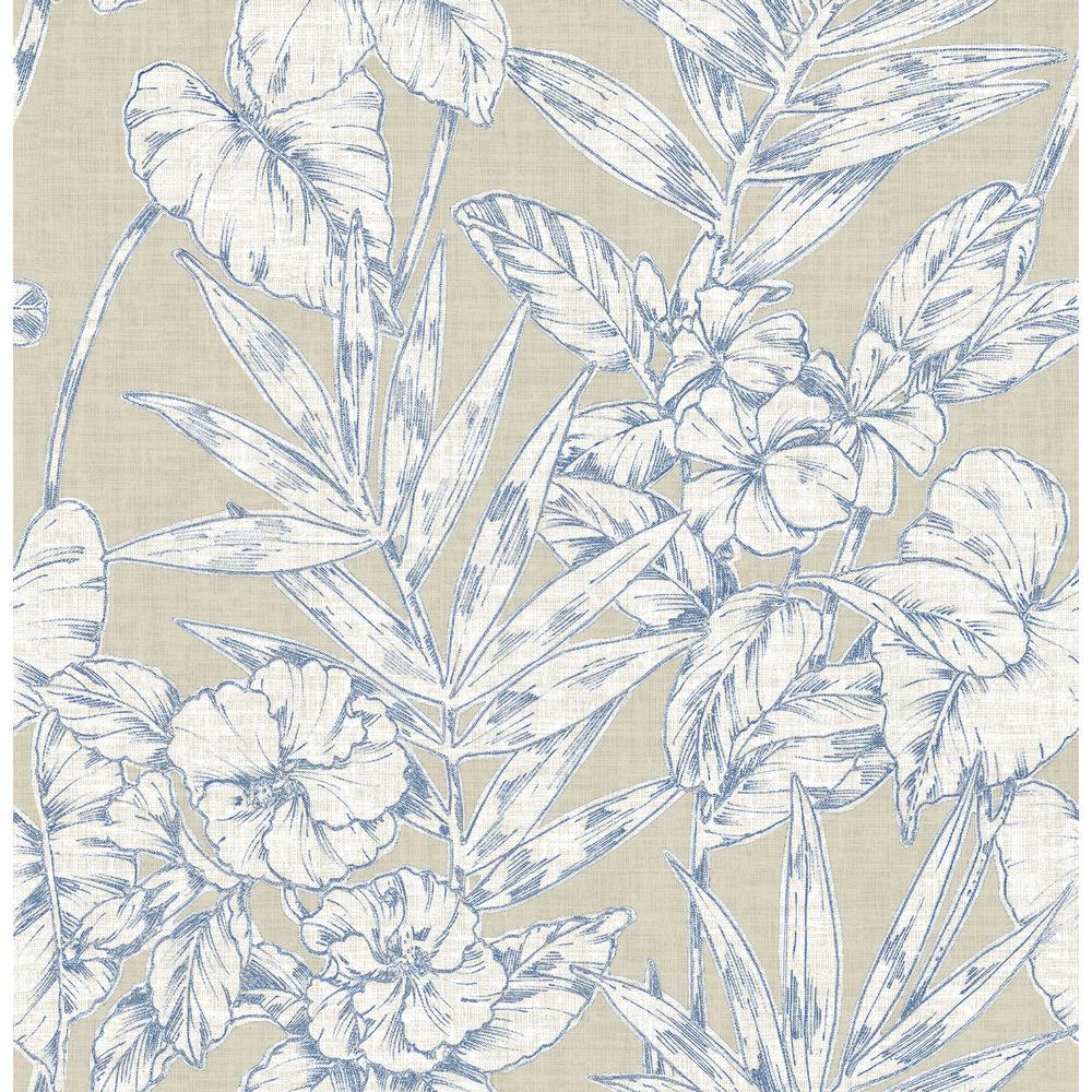 A Street 56 4 Sq Ft Fiji Navy Floral Wallpaper 2744 24107 The