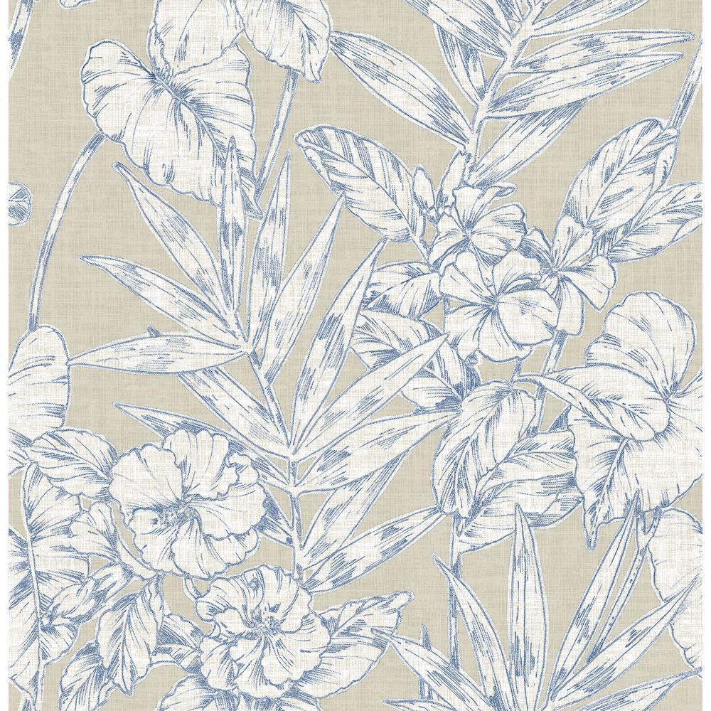 56.4 sq. ft. Fiji Navy Floral Wallpaper