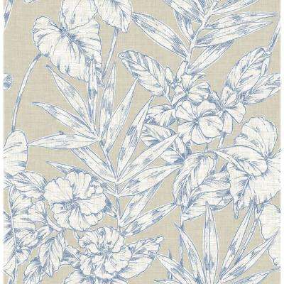 Fiji Navy Floral Paper Strippable Roll Wallpaper (Covers 56.4 sq. ft.)