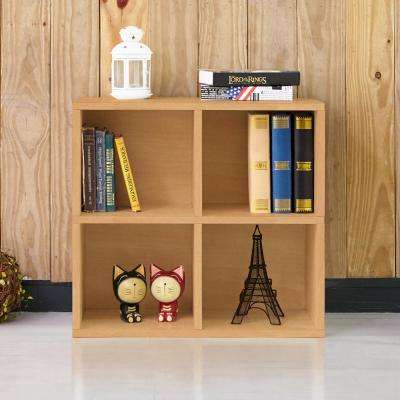 Quad Natural 4-Cubby Eco zBoard Stackable Tool-Free Assembly Bookcase and Storage Shelf Organizer