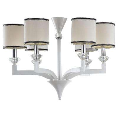 Eric 6-Light Pearl White Chandelier with Off-White Shade