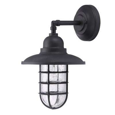 Shipman 1-Light Matte Black Outdoor Wall Mount Lantern