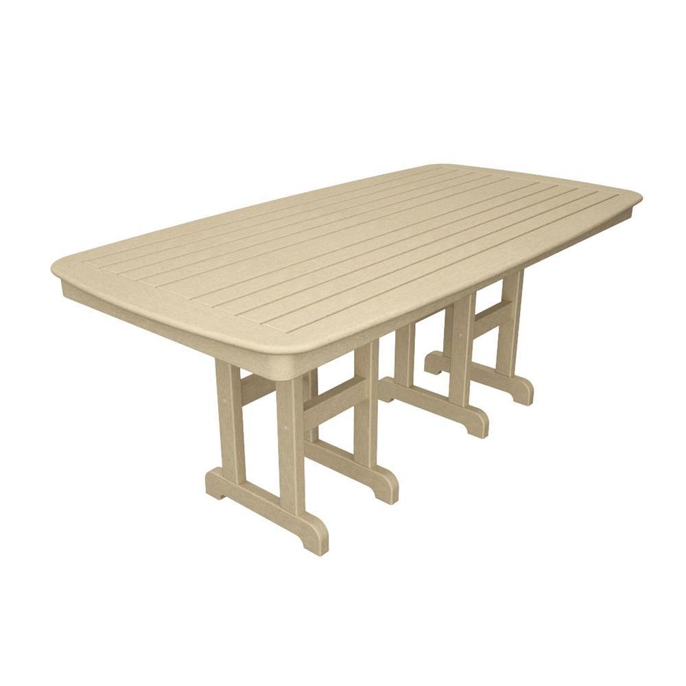 Pleasing Polywood Nautical 37 In X 72 In Sand Plastic Outdoor Patio Dining Table Frankydiablos Diy Chair Ideas Frankydiabloscom