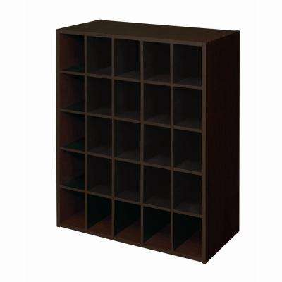 24 In W X 32 H Espresso Stackable 25 Cube Organizer
