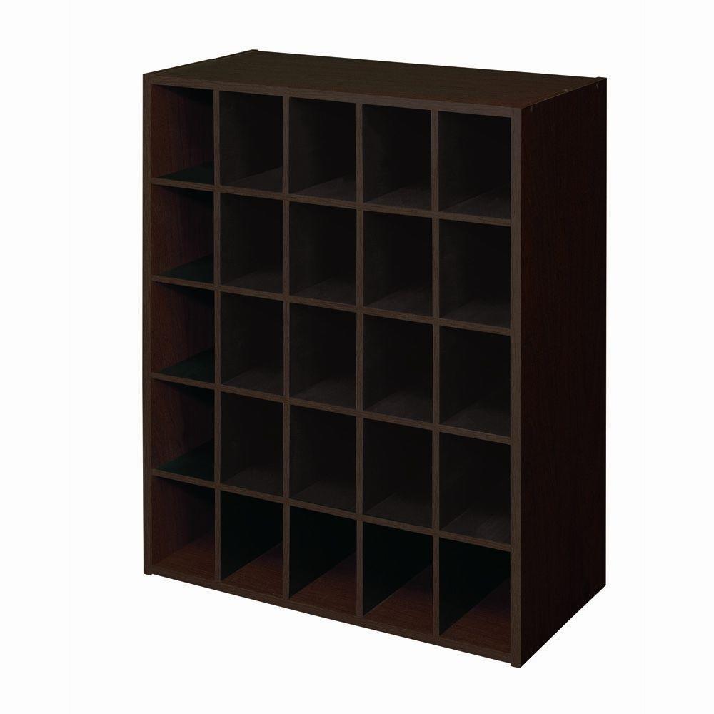 32 in. H x 24 in. W x 12 in. D Espresso Wood Look 25-Cube Storage Organizer