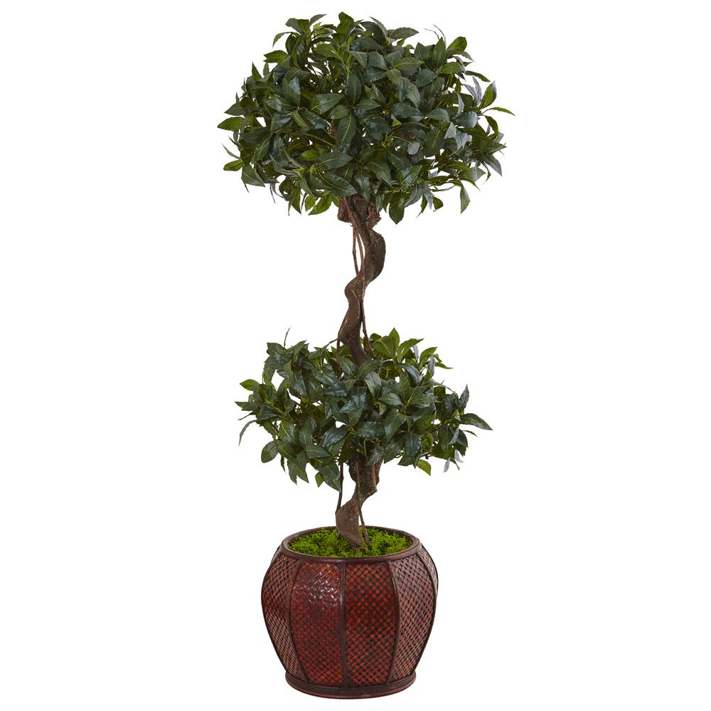 Nearly Natural Indoor Sweet Bay Double Topiary Artificial