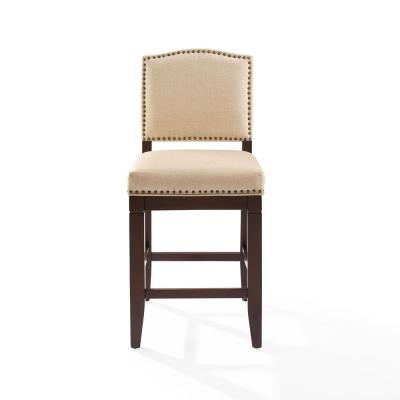 Bryson 30 in. Bar Stool in Mahogany with Oatmeal Cushion