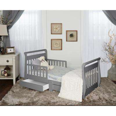 Steel Grey Toddler Adjustable Sleigh Bed with Storage Drawer