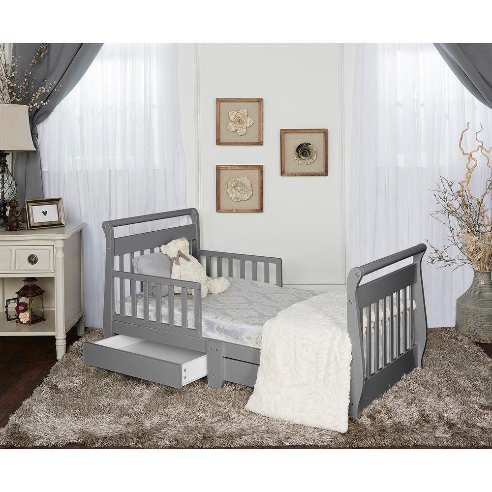 Steel Grey Toddler Adjustable Sleigh Bed with Storage Drawer