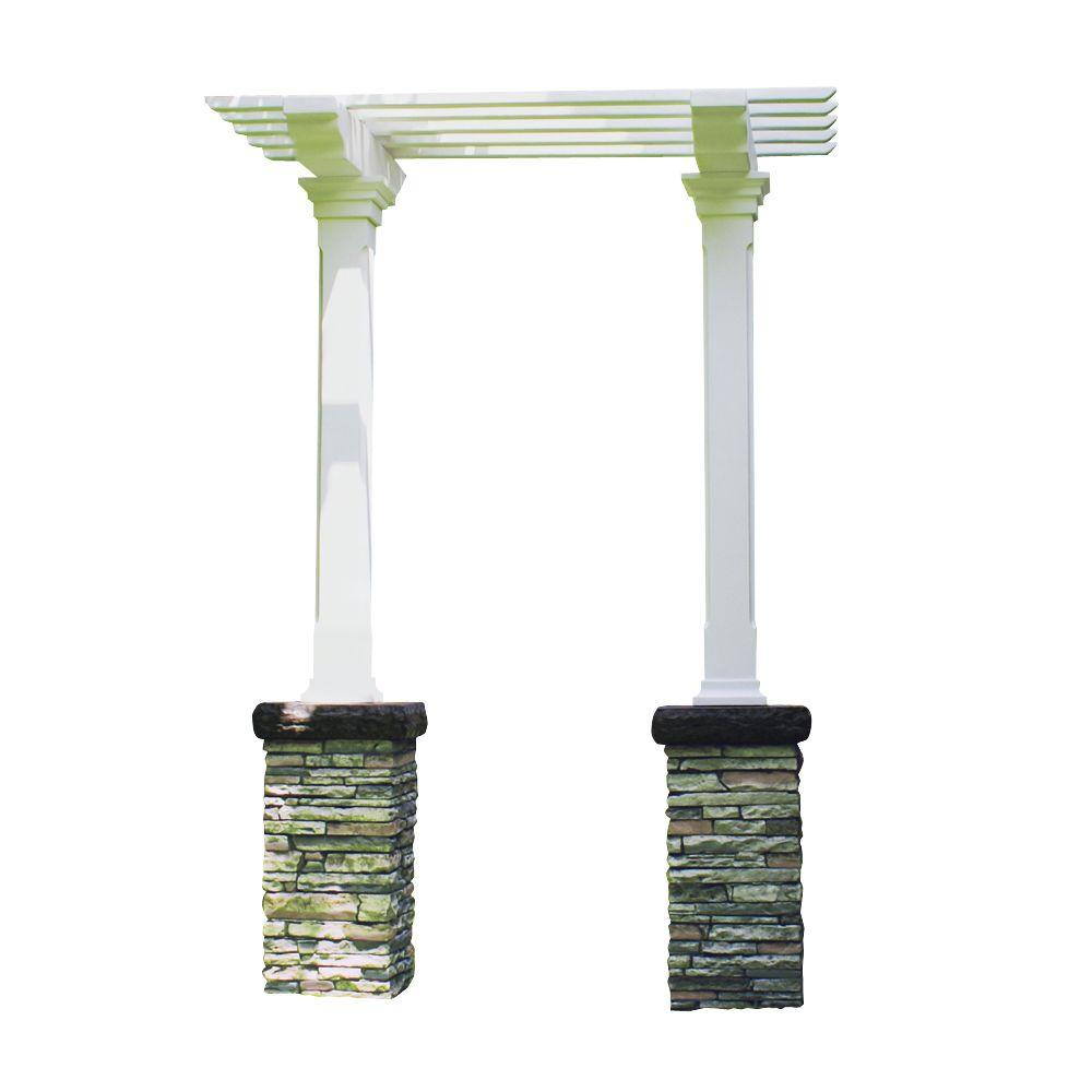 Eye Level Heritage 103 in. x 36 in Stacked Stone Gray Single Beam Maintenance-Free Arbor