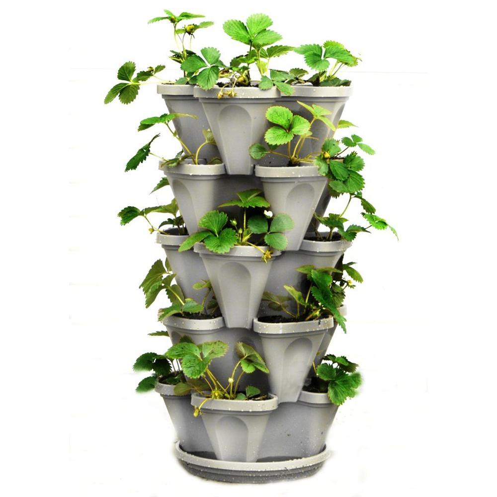 Mr Stacky 12 In X 5 5 In Stone Plastic Vertical Stackable Planter