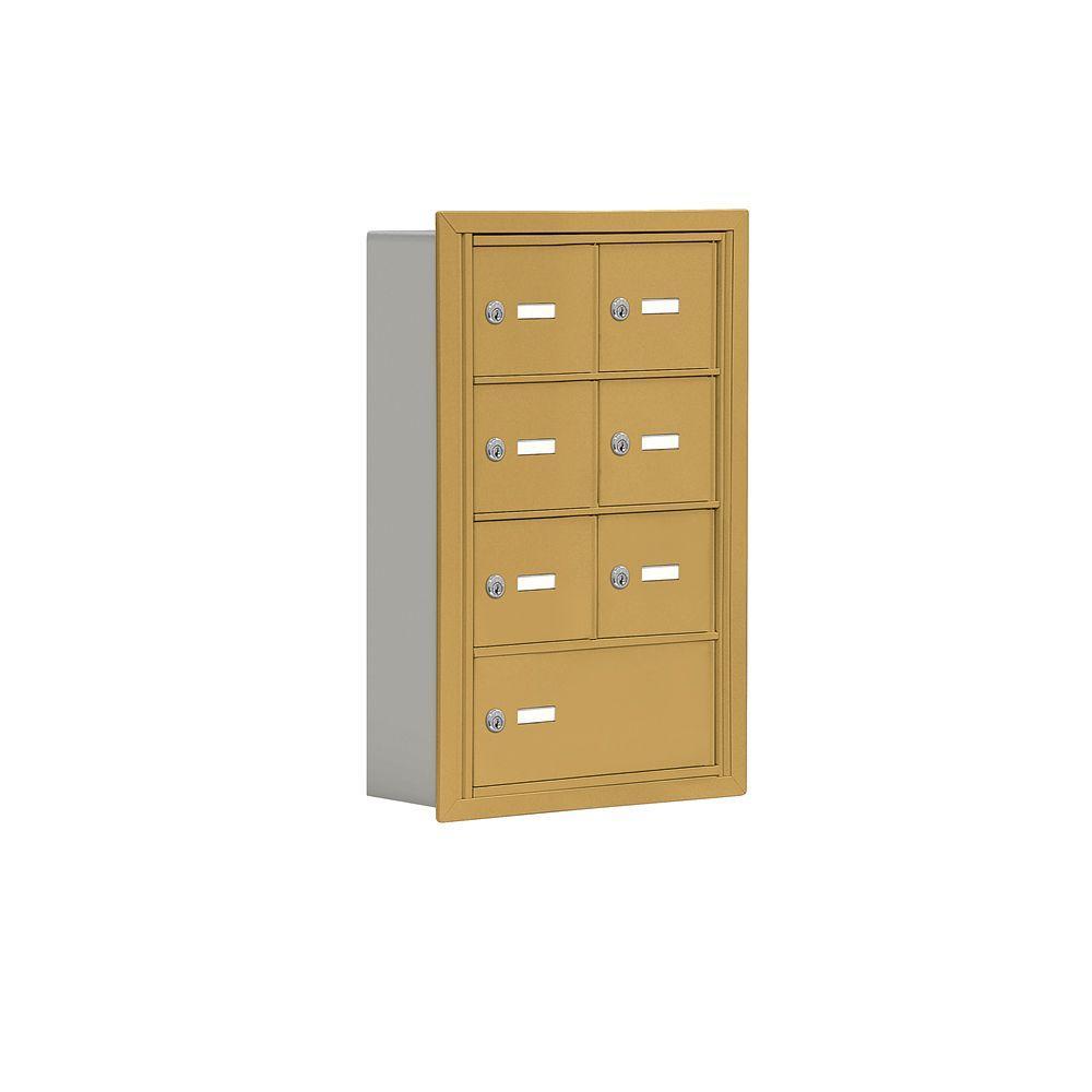 19000 Series 17.5 in. W x 25.5 in. H x 5.75 in. D 6 A / 1 B Doors R-Mount Keyed Locks Cell Phone Locker in Gold