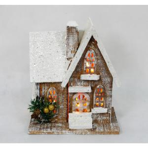 11 in. Christmas Wooden Church with 8-Light Battery Operated Warm White Light