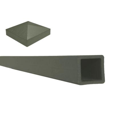 Seclusions 5 in. x 5 in. x 9 ft. Winchester Grey Wood-Plastic Composite Fence Post with Crown Post Cap