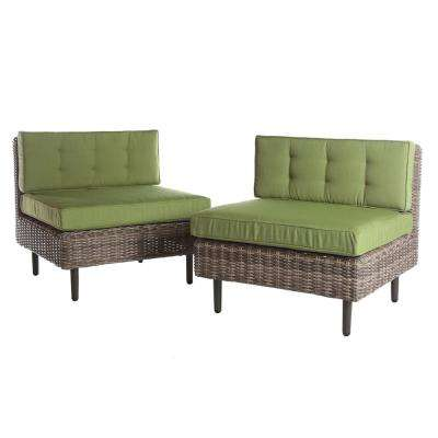 Aimee 2-Piece Wicker Patio Seating Set with Spectrum-Cilantro Cushions