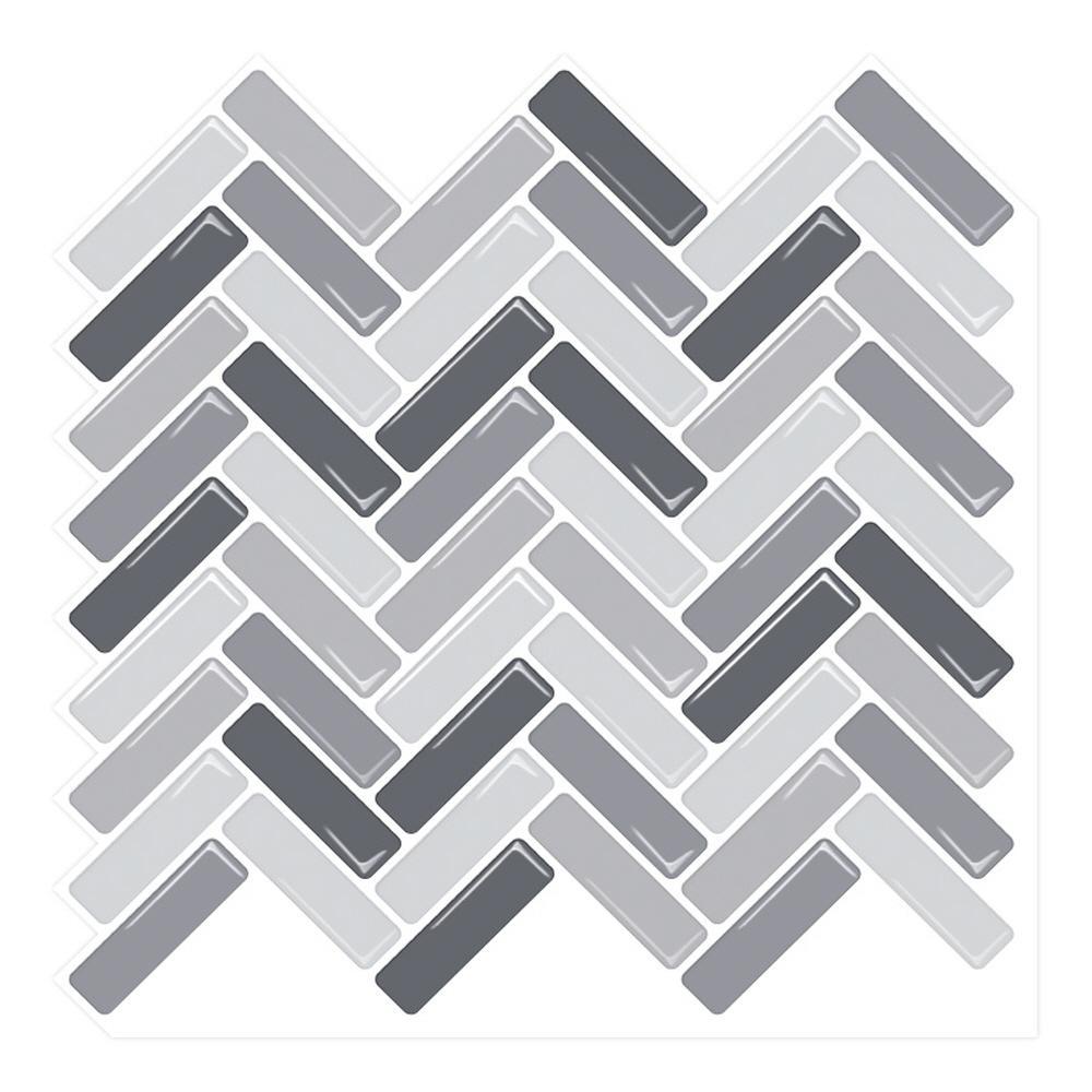 Tic Tac Tiles Herringbone Grigio 10 In. W X 10 In. H Peel